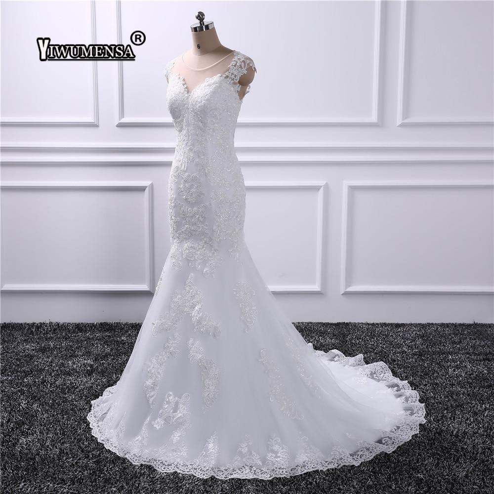 Real Retro Weddings: Real Photo Lace Mermaid Long Wedding Dress 2019 Vestido De