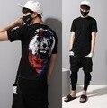 2016 Harajuku Fashion Lion Designer 3D Printed One Piece Side Zipper Men T Shirt Curved Hem Tee Mens Longline Rock T Shirts