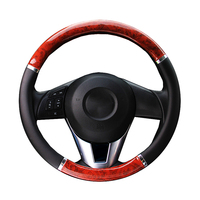 Black Steering Wheel Cover With Woodgrain Design And Chrome Trim PU Leather Car Steering Wheel Braid
