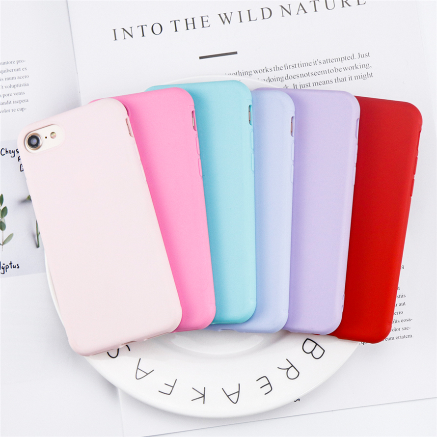 Lovely Candy Color Silicone Cases For iPhone 7 case For iPhone 6 8 7 6s X Case Luxury Perfectly protect TPU Cover Coque Fundas