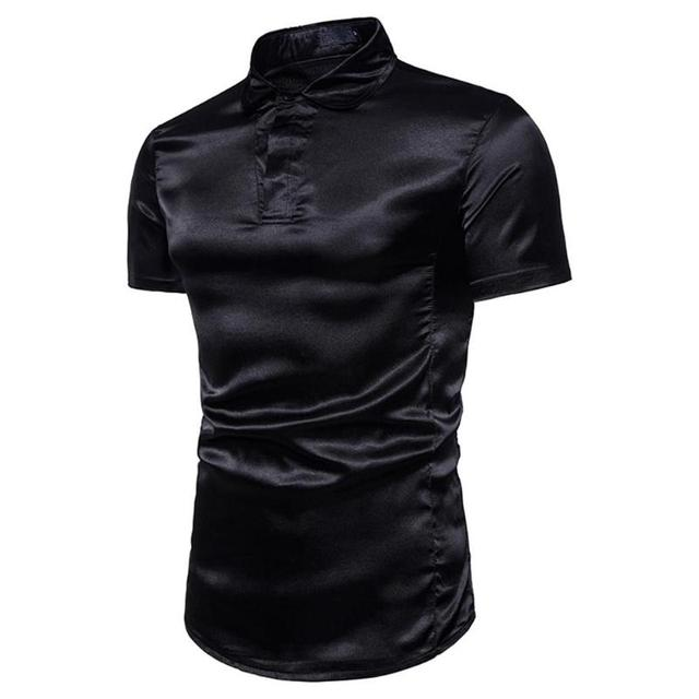 a656690be6a3 Men Shine Silk Solid Color Turn Down Collar Short Sleeve Shirt Summer  Stylish Casual Slim Fit