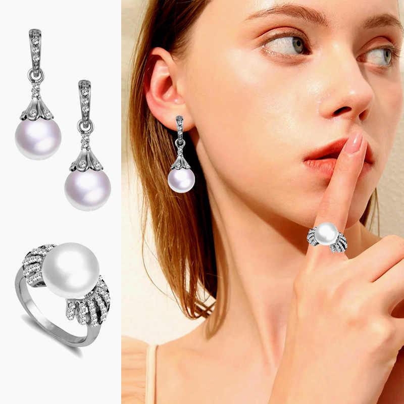 SINLEERY Elegante Nachahmung Weiße Perle Schmuck Sets Für Frauen Silber Farbe Ohrringe Und Ring Set Hochzeit Zubehör Tz125 SSB