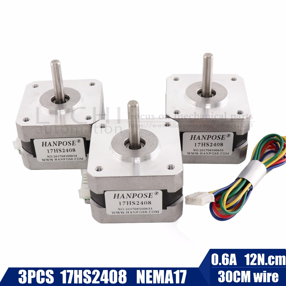 Free shipping 3pcs/lot Quality 17HS2408 4-lead Nema 17 Stepper Motor 42 motor 42BYGH 0.6A CE ROSH ISO CNC Laser and 3D printer