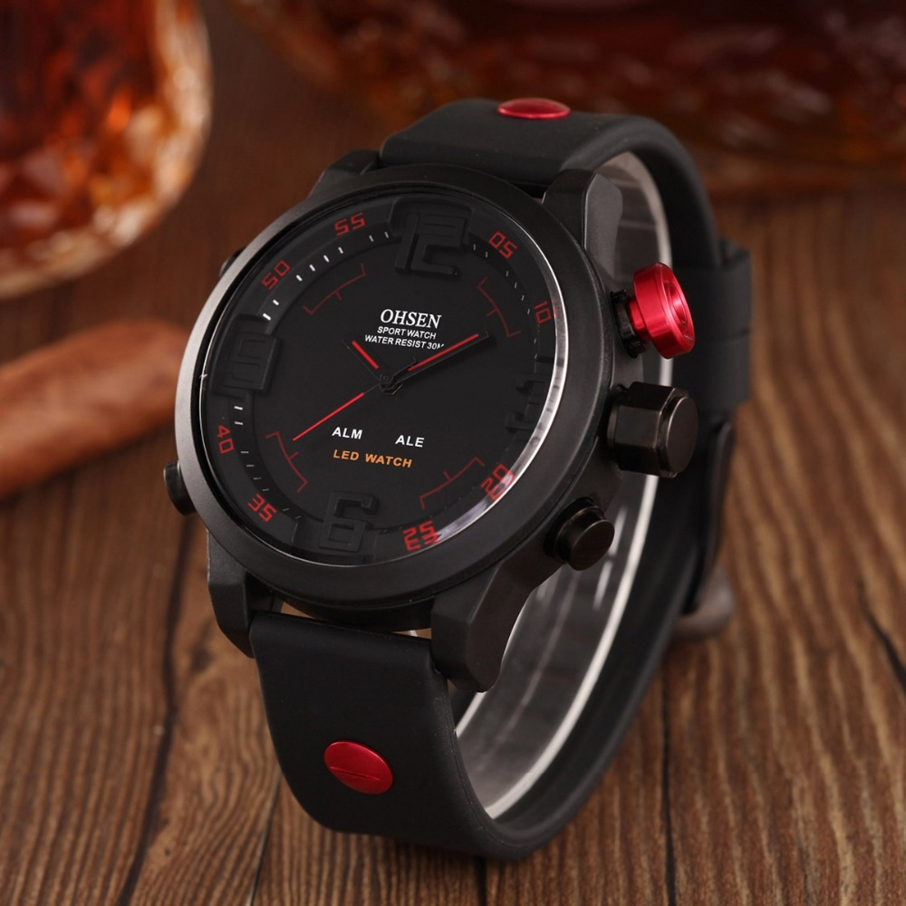 73be5a14a6a Nova Moda OHSEN Relógio Digital Led Relógio de Quartzo Analógico Sports Relógios  Homens Relogio masculino Casual relógios de pulso À Prova D  Água AS20 em  ...