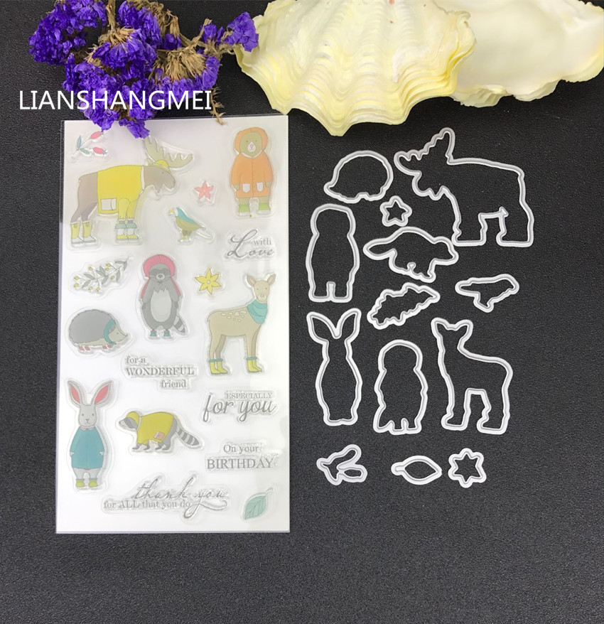 Winter Animal Metal Cutting Dies And Stamp Stencils For DIY Scrapbooking