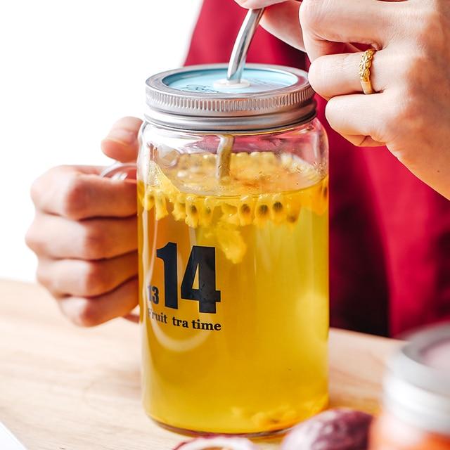Heat Resistant Borosilicate Glass Mason Jar Mugs With Lid Stainless Steel Straw Drinking Tea Coffee Beverage