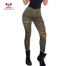 2017 Hot Summer Women Casual Hole Pants High Waist Skinny Elastic Army Pencil Jeans Slim Ripped Sexy Girls Trousers Jeans M-126