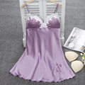 Ladies Sexy Silk Satin Nightgown Lace Nightdress Sleeveless Nighties Summer Night Dress Charming Sleep Wear Night Wear For Women