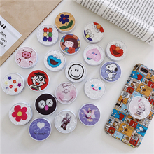 Shell Cute Cartoon Round Universal Mobile Phone Ring Holder Airbag Gasbag fold Stand Bracket Mount For iPhone xr Samsung Huawei