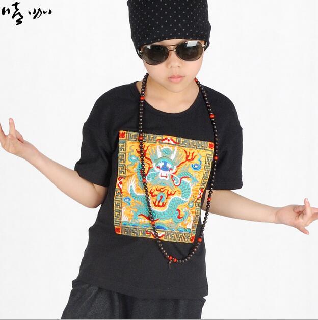 2017 Vår nya mode pojke Toppar o-hals tee kortärmad Religiös drake - Barnkläder