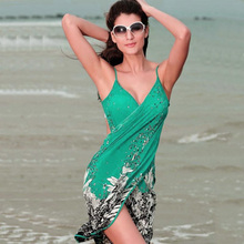 Women Beach Dress Towel Swimwear Flower Open-Back Swimwear Sexy Sling Beach Sarong Bikini Wrap Pareo Skirts Towel Cover-ups Wear