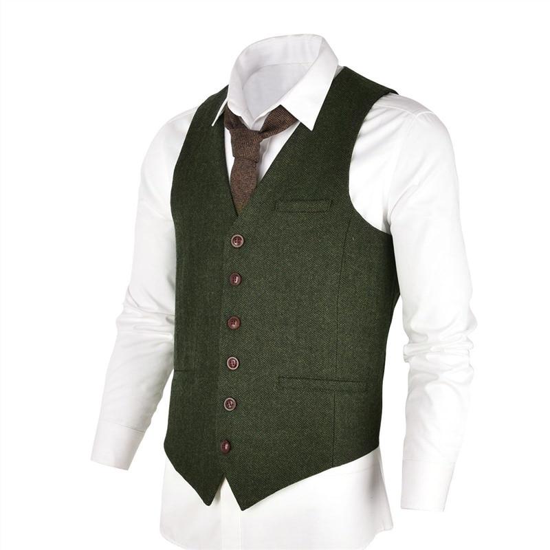 VOBOOM Green Slim Fit Wool Blend Single-Breast Suit Vest Men Herringbone Waistcoat in Tweed 007