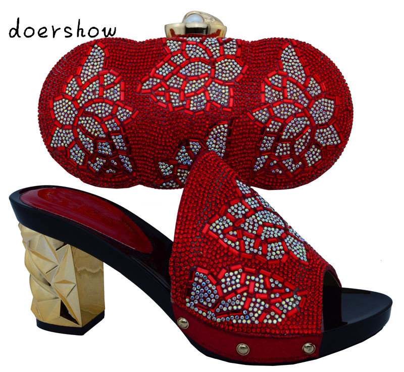 doershow2016 Shoes And Bags To Match,Ladies Shoes For Wedding/Party With gold High Quality Shoes And Bag Set For Party ! !HJT1-1