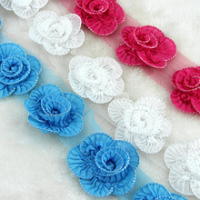 9Yards Chiffon Ruffle Lace Trim Black White Lace Applique Sewing Material Fabric DIY Fancy Craft Lace Ribbon For Ornaments