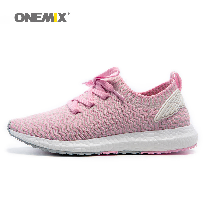 ONEMIX Woman Running Shoes For Women Athletic Trainers Pink Zapatillas Sports Shoe Outdoor Walking Sneakers Free Ship vik max athletic shoe women tricot lined figure ice skates shoes