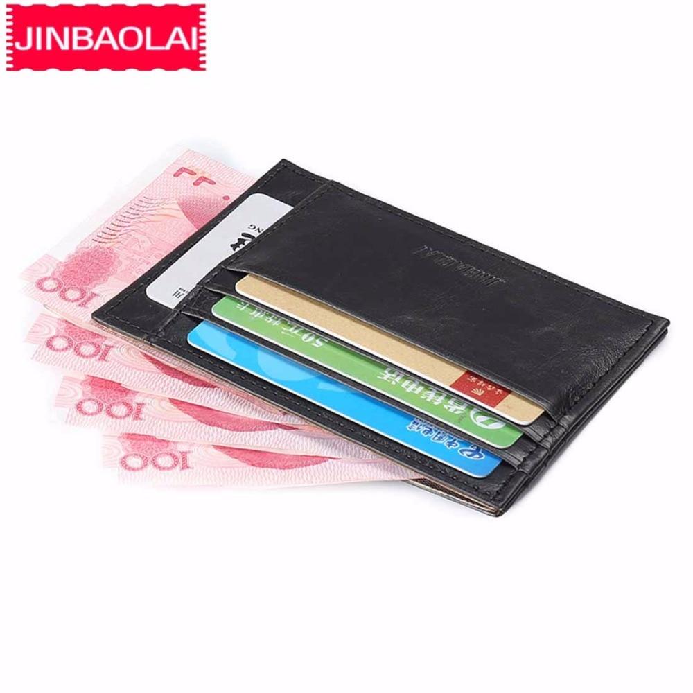 JINBAOLAI Mini Slim Card Wallet 2018 PU Leather ID Card Holder Small Men Purse Card Holder High Quality Brand Mini Wallet