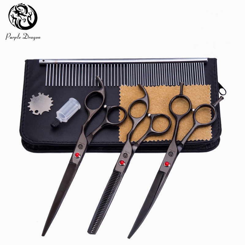 Purple Dragon 4pcs/set 7 inch Professional Pet Dog Grooming Scissors (Straight +Curved +Thinning) Shears +Comb Pet Haircut Tools dali 16 2 3а