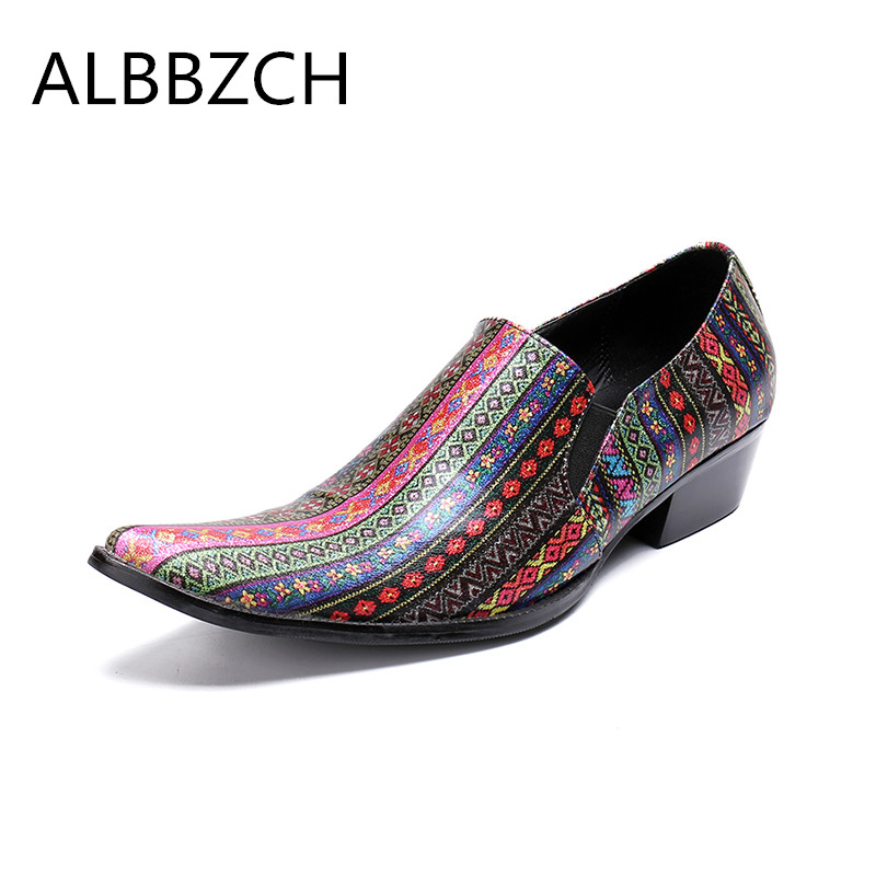 Spring summer men shoes high heeels pointed toe slip on printing leather fashion loafer wedding shoes men career work show shoesSpring summer men shoes high heeels pointed toe slip on printing leather fashion loafer wedding shoes men career work show shoes