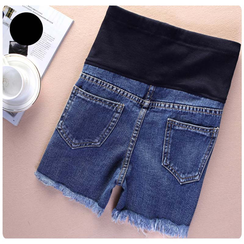 Summer Jeans Shorts for Pregnant Women Holes Denim Care Belly Maternity Pants Plus Size M-3XL NSV775