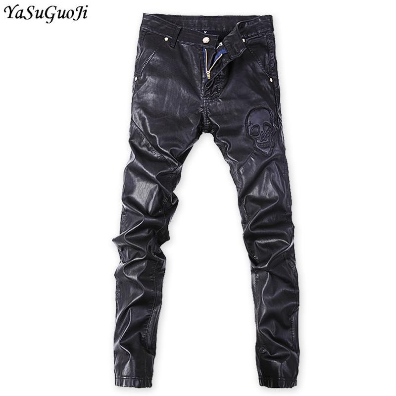 YASUGUOJI New 2019 Fashion Punk Style Skull Black Jeans Slim Pu Leather Jeans Men Skinny Jeans Men Man Jeans Brand 2019