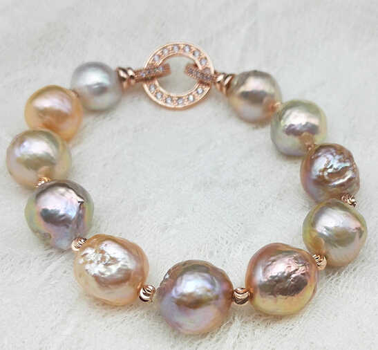 ZCD 417 + + + Europe et les états-unis et les états-unis Edison Baroque forme irrégulière Bracelet de perles grande couleur mélangée na