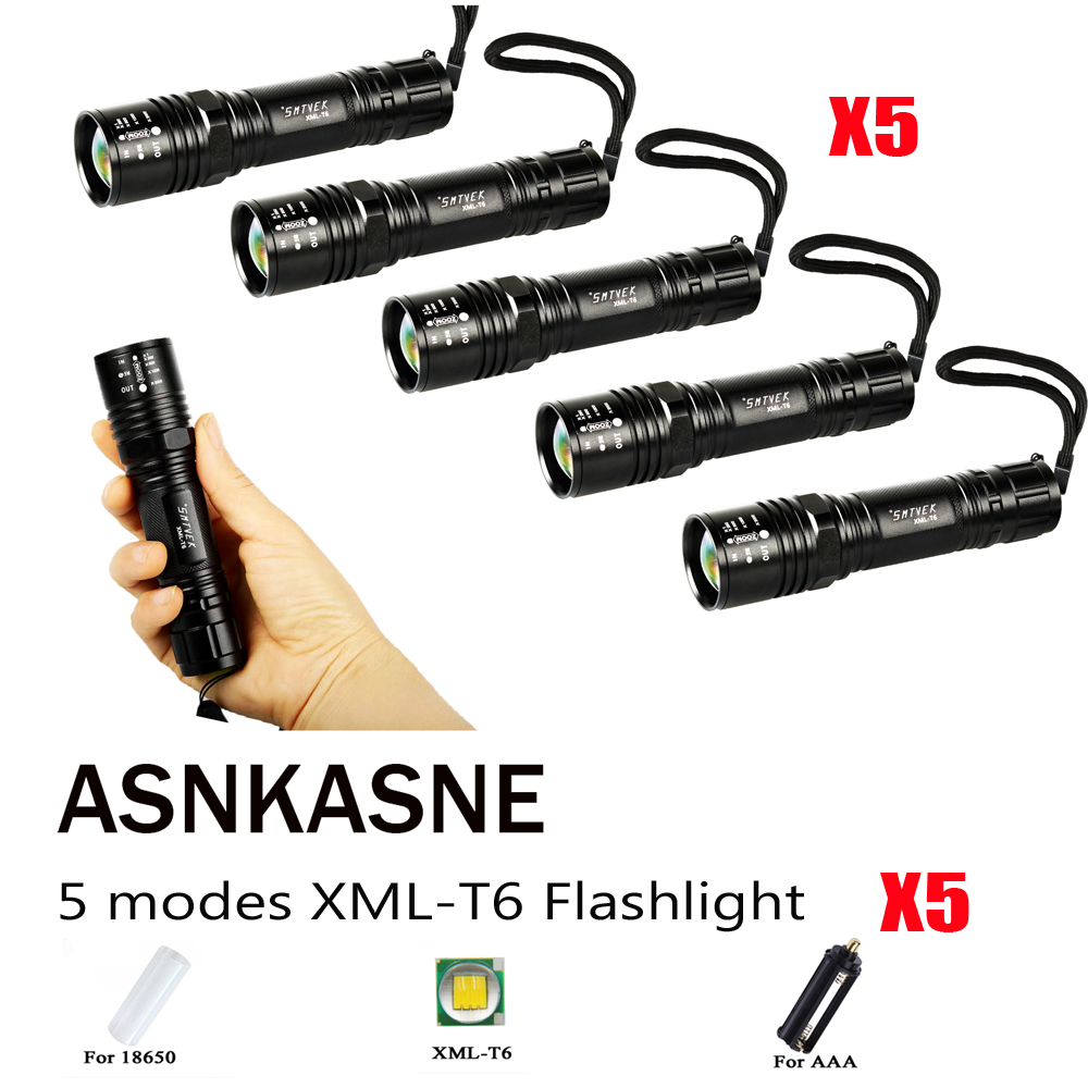 5 Pieces A Lot Aluminium Alloy 4000LMS Cree XM-L T6 LED Flashlight Powerful Zoomable Focus LED Torch Light For 18650 or AAA цена