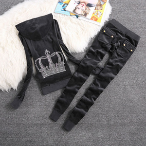 Image 3 - Brand Sweatsuit Velvet Fabric Tracksuits Velour Outfits Hoodies Tops and Sweat Pants Set S  XL