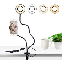 [Seven Neon]Photo Studio Selfie LED Ring Light make up light+Cell Phone Mobile Holder for Youtube Live Stream Makeup Camera Lamp(China)
