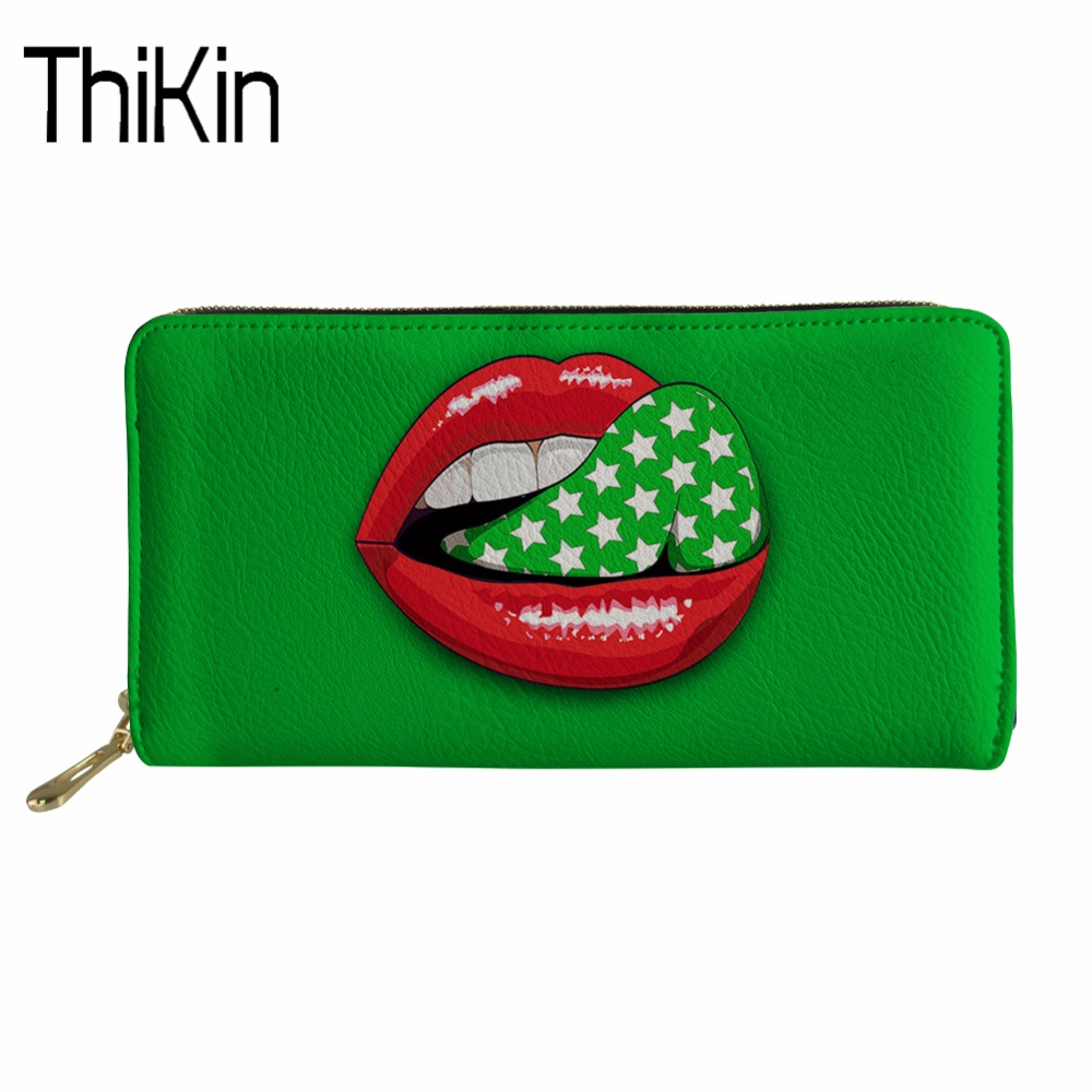 THIKIN Women Wallets Coin Purses Holders Sexy Lips Print Ladies Slim Wallet for Girls PU Leather Travel Purse Portable Holder