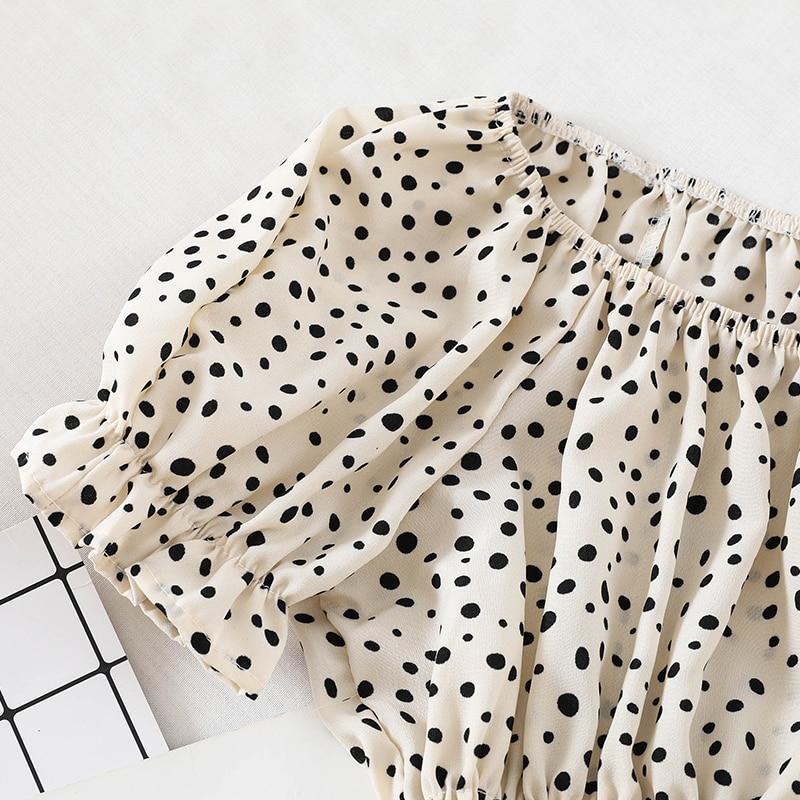 Women Slash neck Flare Sleeve Mesh Gauze Voile Shirt Casual Short Elastic Slim High Waist Polka Dot Chiffon Ruffles Blouse Tops 4