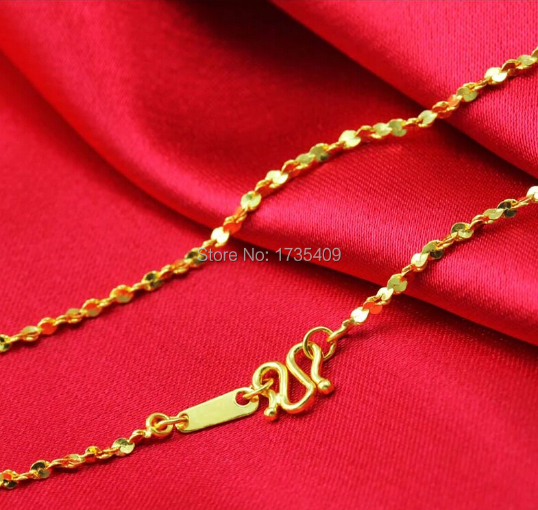 Authentic Solid 24K Yellow Gold Chain Necklace/ Full Star Chain Necklace/ 3.45g    1