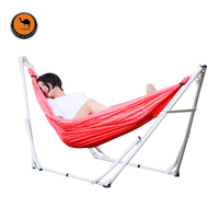 Elastic Cloth Hammock with Iron Frame Indoor Outdoor Net Bed Camping Folding Swing Bracket Hammock