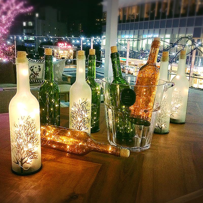 LED starry wine bottle lamp bedroom bedside star night light bar restaurant living room bar decoration atmosphere table lamp