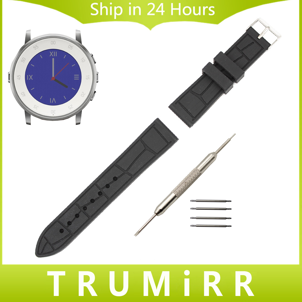 20mm Silicone Rubber Watch Band + Tool for Pebble Time Round 20mm Bradley Timepiece  Replacement Strap Wrist Band Bracelet Black 20mm silicone rubber watch band for pebble time round 20mm bradley timepiece stainless steel buckle strap resin bracelet black