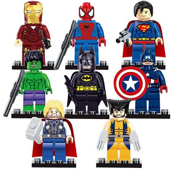 NEW hot 8 pcs/ensemble avengers Super Heroes Iron Man Hulk Batman Thor Figurines Building Blocks Briques Compatible jouets No boîte