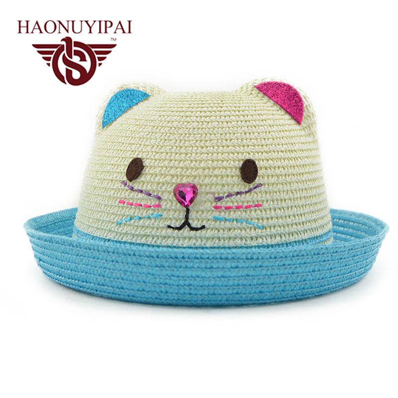 Lindo Gato Gorra para el Sol Sombrero de Paja Para Las Niñas de Alta ...