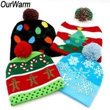 OurWarm 5pcs Ugly Sweater LED Hat Christmas Beanie Tree Snowflower Knitted for Children Adult Party Wholesale