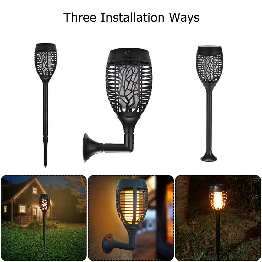 96 LED 太陽の炎ランプちらつきトーチライト IP65 防水ガーデンライト USB 充電パス芝生ランプ 3 つのインストールモード -