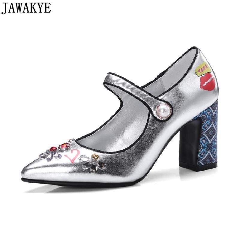 JAWAKYE Spring Shoes Women silver blue Button Shoes crystal rhinestone high Heels print pattern Runway Pumps zapatos mujer