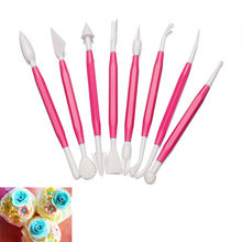 8Pcs/set Fondant Flower Carving Pen Fondant Cake Decoration Carved Flower Group Shaping Modelling Craft Sugar Engraving Tools(China)