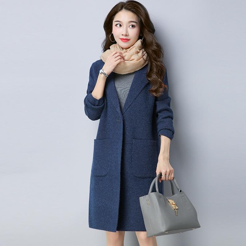 Plus Size 5XL Women Autumn Spring Cashmere Coats Loose Jackets Female Warm One Button Overcoat Outwear Casaco Feminino LX219