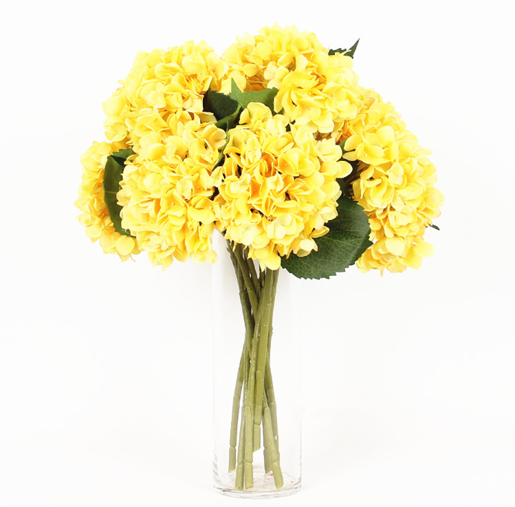Yellow hydrangea with leaves 5pcslot display silk flower table yellow hydrangea with leaves 5pcslot display silk flower table decorative artificial flowers wedding party event free shipping mightylinksfo