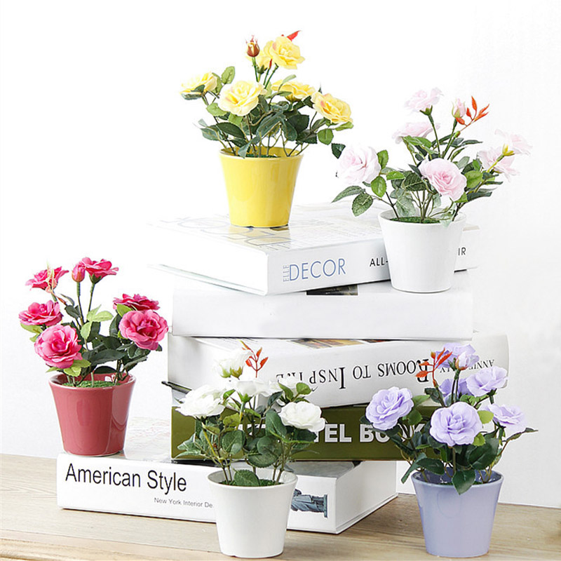 1шт Штучні квіти Бонсай Роза - Святкові та вечірні предмети