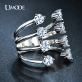 UMODE Unique Thin Four-banded Ring Open Aneis Front Anel Rhodium Plated 8pcs CZ Rings for Women Fashion Jewellery UR0210B