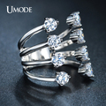 Umode уникальный тонкий четыре пластинчатые кольцо откройте переднюю анель белый позолоченный 8 шт. CZ кольца с бриллиантами для женщин мода ювелирные изделия UR0210B