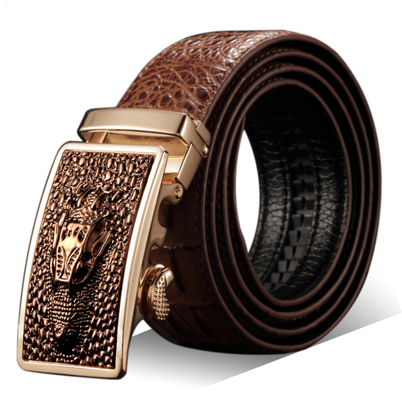 Fashion Casual Men's Leather   Belts  , Faux Crocodile Leather   Belt   Men High Quality, Crocodile Head Automatic Buckle   Belt