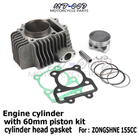 155z Engine Cylinder with 60mm piston kit cylinder head gasket for Zongshen Kayo 150 155 160cc Dirt Pit Bikes