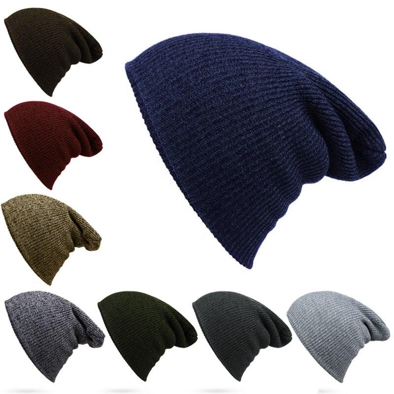 Hip Hop Knitted Hat Women's Winter Warm Casual Hat Crochet Ski Skullies Hat Female Soft Baggy Skullies Beanies Men