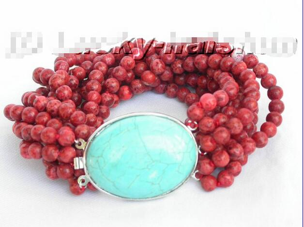 Wholesale price 16new ^^^^^^^100% natural 10row red sponge coral Bracelet stone