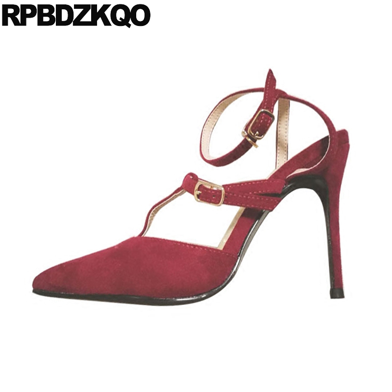 cross strap t thin sandals scarpin pointed toe women pumps high heels bar 2019 suede 3 inch wine red shoes ladies sexy anklecross strap t thin sandals scarpin pointed toe women pumps high heels bar 2019 suede 3 inch wine red shoes ladies sexy ankle